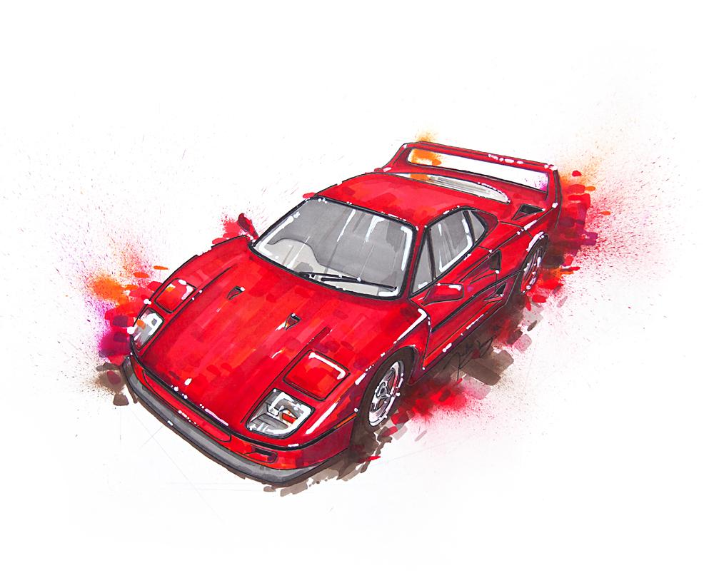 سيارات مبهرجة بلطخات الخطاطات الملونة