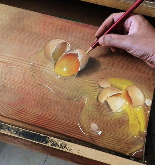 الرسم الواقعي على الخشب للفنان ايفان هو